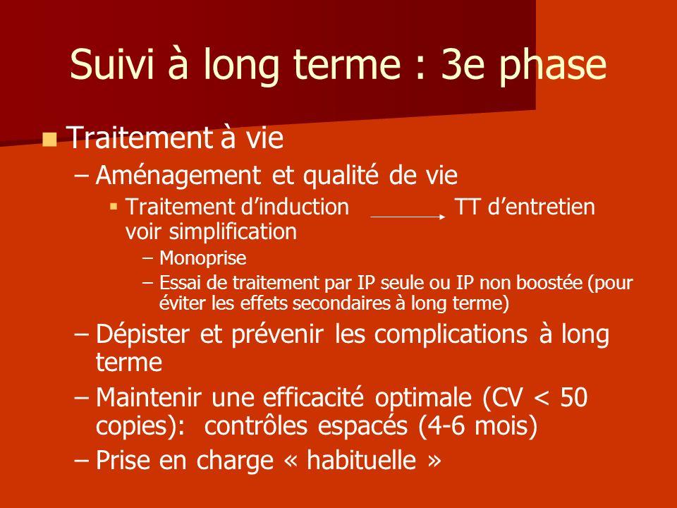 Suivi à long terme : 3e phase Traitement à vie – –Aménagement et qualité de vie Traitement dinduction TT dentretien voir simplification – –Monoprise –