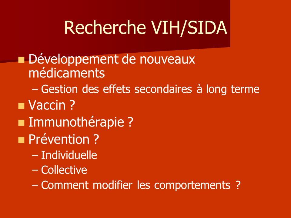 Recherche VIH/SIDA Développement de nouveaux médicaments – –Gestion des effets secondaires à long terme Vaccin ? Immunothérapie ? Prévention ? – –Indi