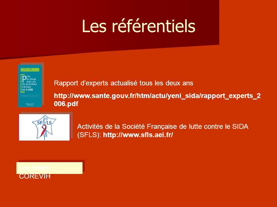 Les référentiels Rapport dexperts actualisé tous les deux ans http://www.sante.gouv.fr/htm/actu/yeni_sida/rapport_experts_2 006.pdf Activités de la So