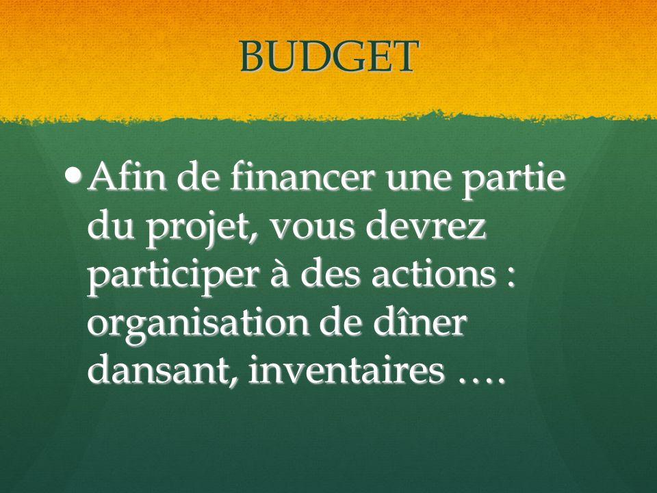 BUDGET Afin de financer une partie du projet, vous devrez participer à des actions : organisation de dîner dansant, inventaires ….