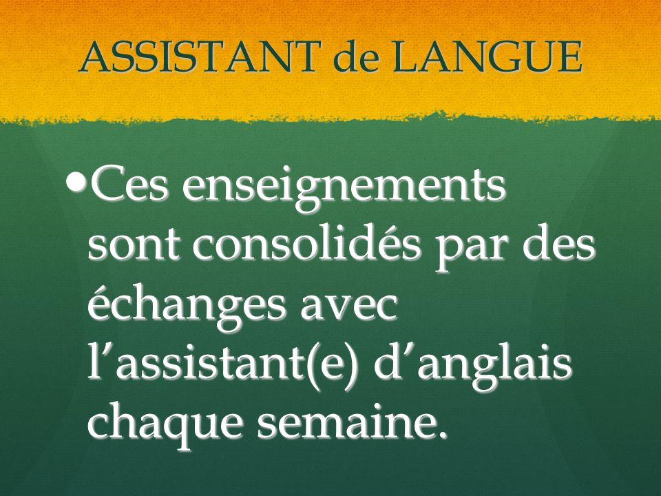 ASSISTANT de LANGUE Ces enseignements sont consolidés par des échanges avec lassistant(e) danglais chaque semaine.