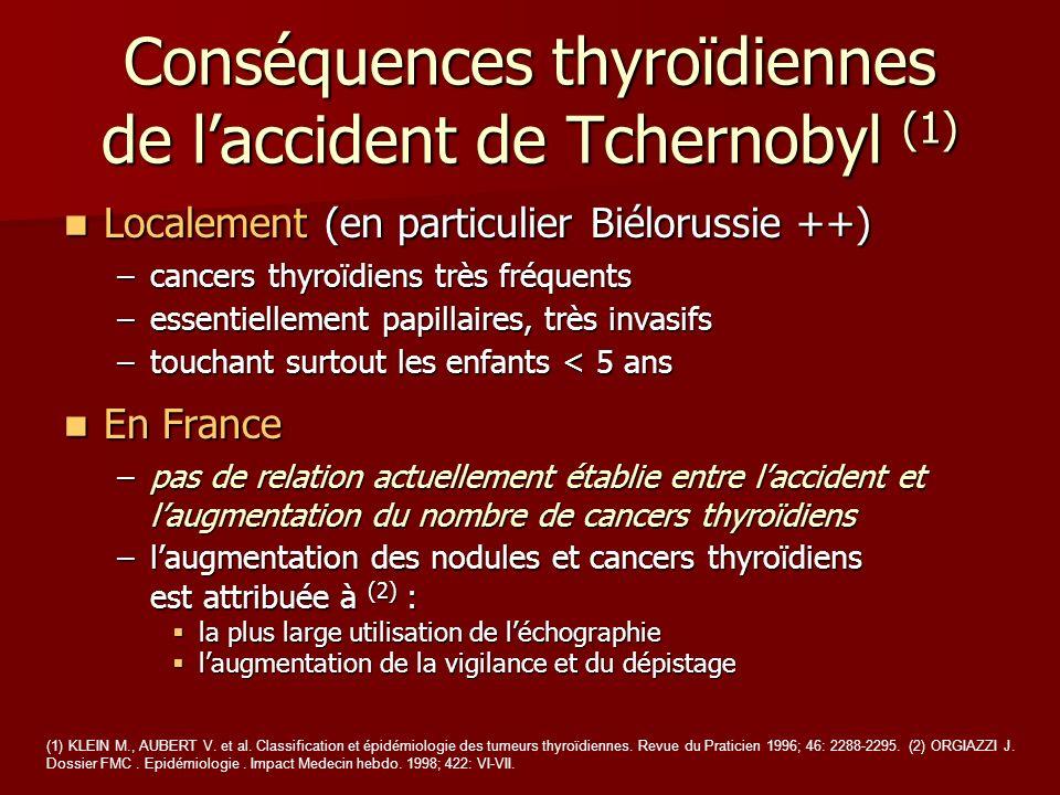 Conséquences thyroïdiennes de laccident de Tchernobyl (1) Localement (en particulier Biélorussie ++) Localement (en particulier Biélorussie ++) –cance
