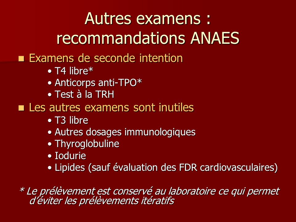 Autres examens : recommandations ANAES Examens de seconde intention Examens de seconde intention T4 libre* T4 libre* Anticorps anti-TPO* Anticorps ant