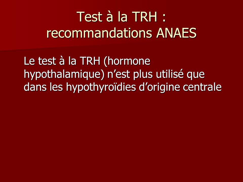 Test à la TRH : recommandations ANAES Le test à la TRH (hormone hypothalamique) nest plus utilisé que dans les hypothyroïdies dorigine centrale