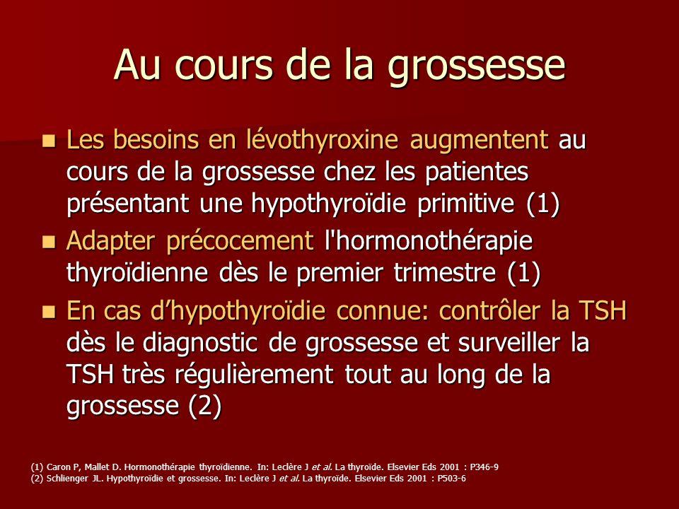Au cours de la grossesse Les besoins en lévothyroxine augmentent au cours de la grossesse chez les patientes présentant une hypothyroïdie primitive (1