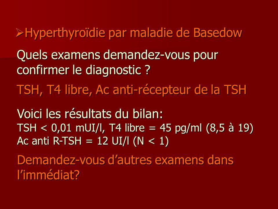 Quels examens demandez-vous pour confirmer le diagnostic ? TSH, T4 libre, Ac anti-récepteur de la TSH Voici les résultats du bilan: TSH < 0,01 mUI/l,