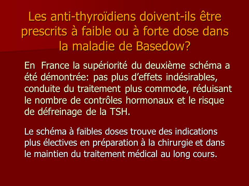 Les anti-thyroïdiens doivent-ils être prescrits à faible ou à forte dose dans la maladie de Basedow? En France la supériorité du deuxième schéma a été