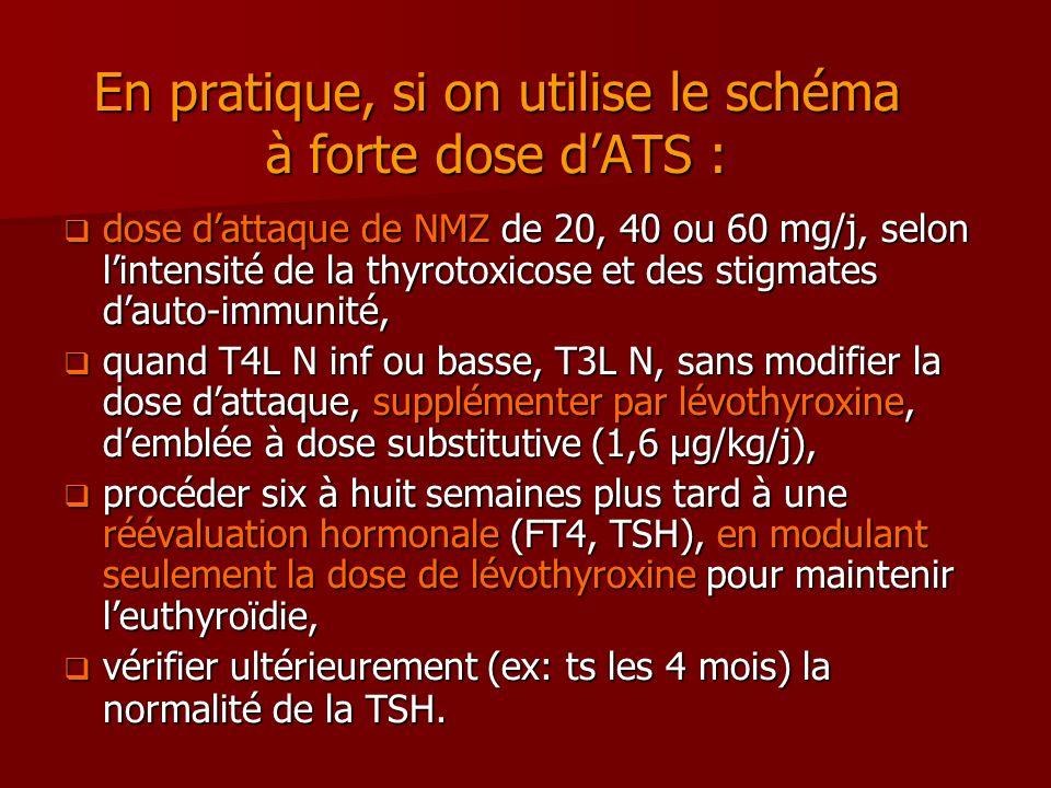 En pratique, si on utilise le schéma à forte dose dATS : dose dattaque de NMZ de 20, 40 ou 60 mg/j, selon lintensité de la thyrotoxicose et des stigma