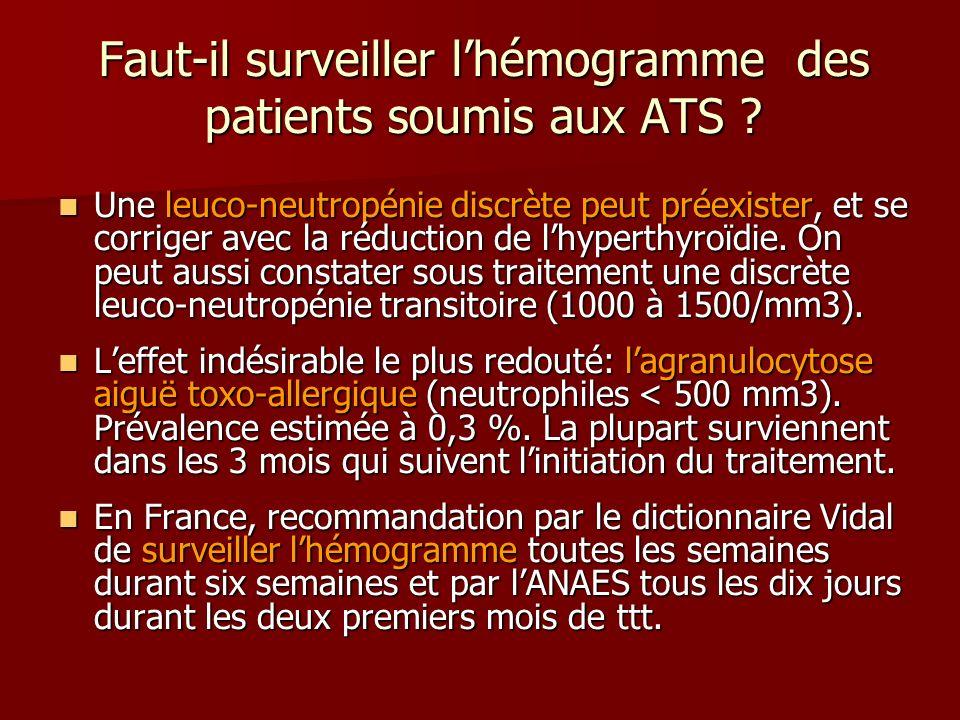 Faut-il surveiller lhémogramme des patients soumis aux ATS ? Une leuco-neutropénie discrète peut préexister, et se corriger avec la réduction de lhype