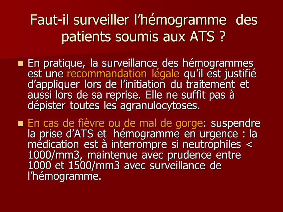 Faut-il surveiller lhémogramme des patients soumis aux ATS ? En pratique, la surveillance des hémogrammes est une recommandation légale quil est justi