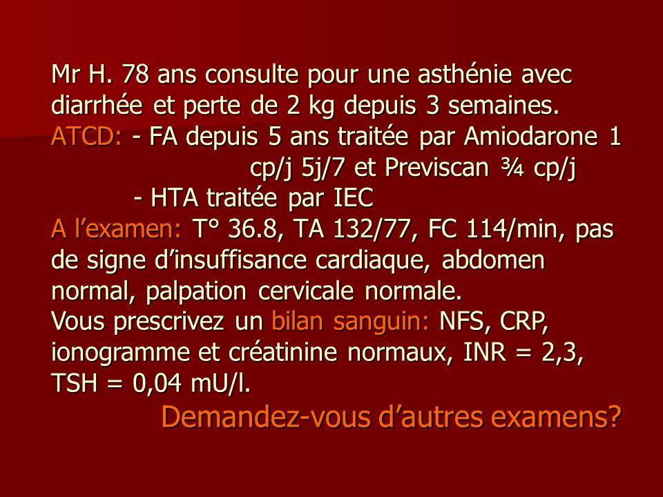 Mr H. 78 ans consulte pour une asthénie avec diarrhée et perte de 2 kg depuis 3 semaines. ATCD: - FA depuis 5 ans traitée par Amiodarone 1 cp/j 5j/7 e