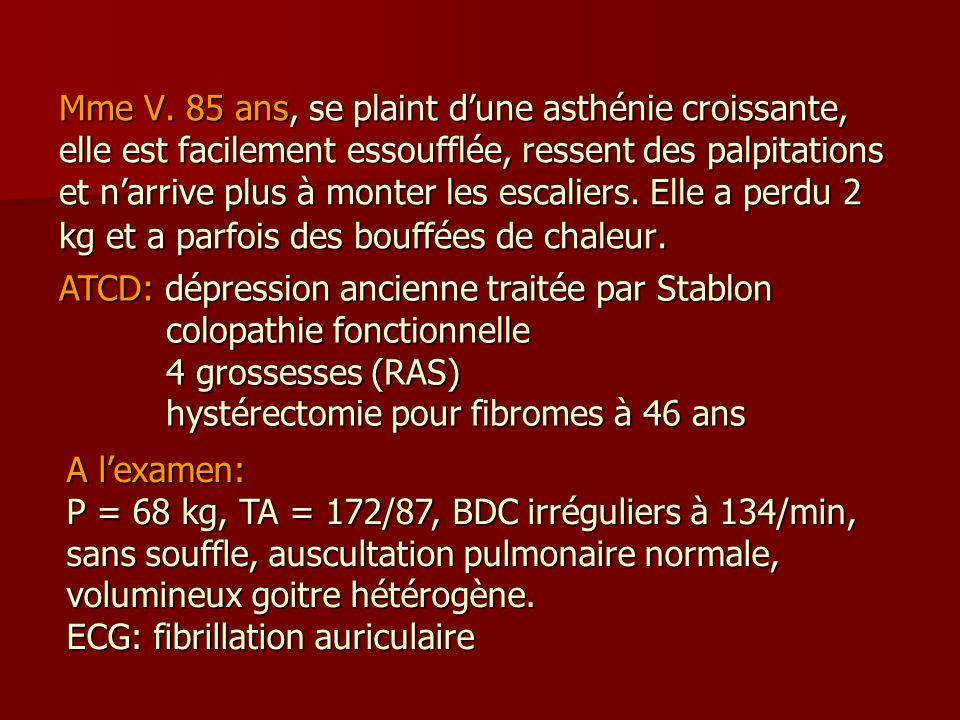 Mme V. 85 ans, se plaint dune asthénie croissante, elle est facilement essoufflée, ressent des palpitations et narrive plus à monter les escaliers. El