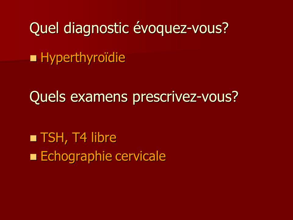 Quel diagnostic évoquez-vous? Hyperthyroïdie Hyperthyroïdie Quels examens prescrivez-vous? TSH, T4 libre TSH, T4 libre Echographie cervicale Echograph