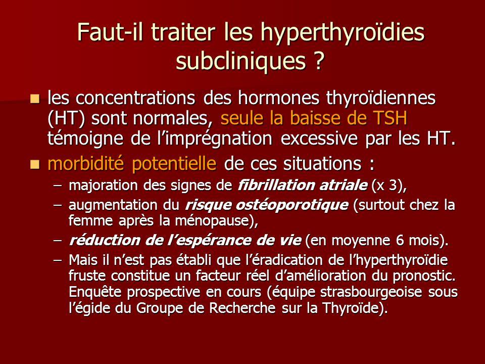 Faut-il traiter les hyperthyroïdies subcliniques ? les concentrations des hormones thyroïdiennes (HT) sont normales, seule la baisse de TSH témoigne d