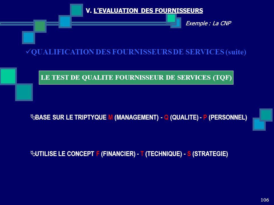 106 Exemple : La CNP V. LEVALUATION DES FOURNISSEURS LE TEST DE QUALITE FOURNISSEUR DE SERVICES (TQF) QUALIFICATION DES FOURNISSEURS DE SERVICES (suit