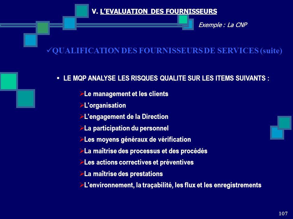 107 Exemple : La CNP V. LEVALUATION DES FOURNISSEURS QUALIFICATION DES FOURNISSEURS DE SERVICES (suite) LE MQP ANALYSE LES RISQUES QUALITE SUR LES ITE