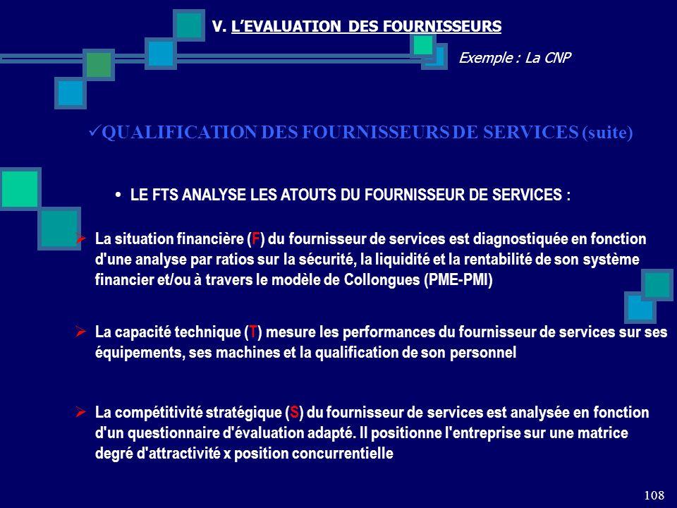 108 Exemple : La CNP V. LEVALUATION DES FOURNISSEURS QUALIFICATION DES FOURNISSEURS DE SERVICES (suite) LE FTS ANALYSE LES ATOUTS DU FOURNISSEUR DE SE