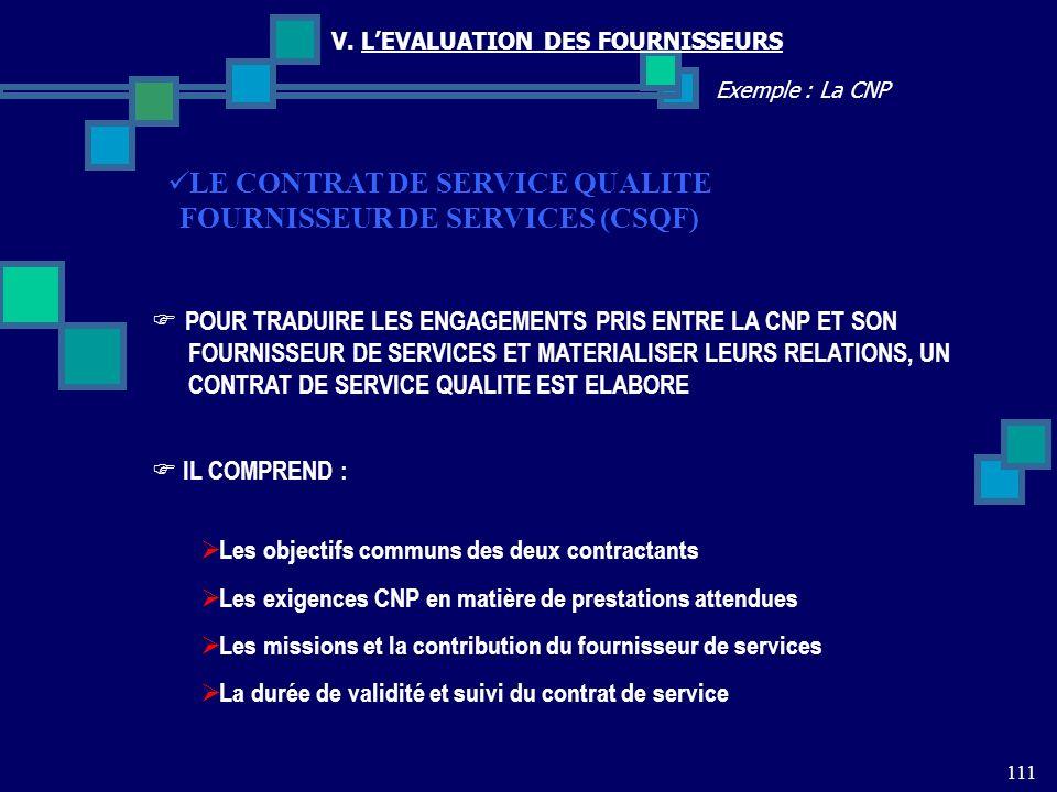 111 Exemple : La CNP V. LEVALUATION DES FOURNISSEURS LE CONTRAT DE SERVICE QUALITE FOURNISSEUR DE SERVICES (CSQF) IL COMPREND : Les objectifs communs