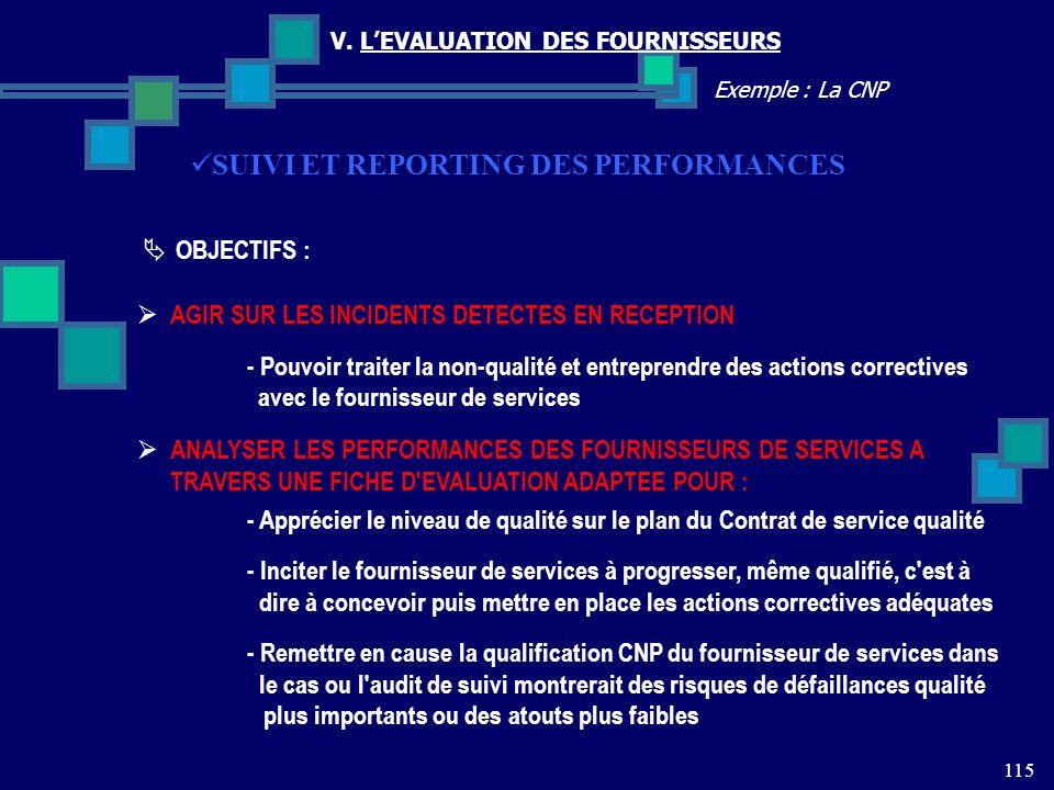 115 Exemple : La CNP V. LEVALUATION DES FOURNISSEURS SUIVI ET REPORTING DES PERFORMANCES OBJECTIFS : AGIR SUR LES INCIDENTS DETECTES EN RECEPTION - Po