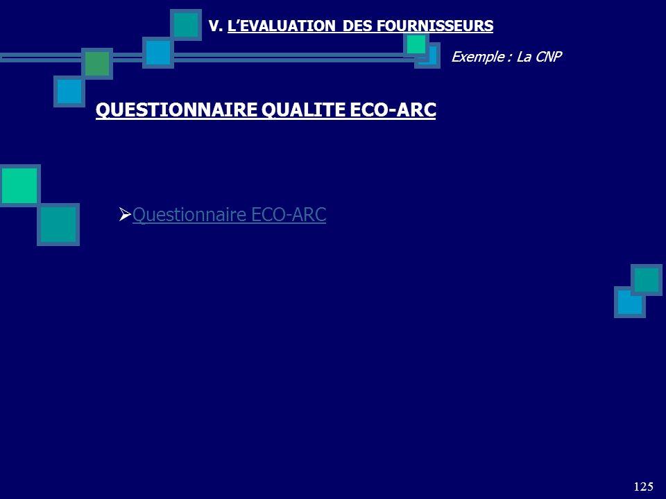 125 Exemple : La CNP V. LEVALUATION DES FOURNISSEURS Questionnaire ECO-ARC QUESTIONNAIRE QUALITE ECO-ARC