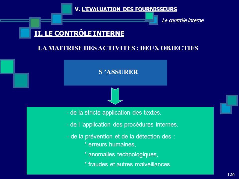 126 Le contrôle interne V. LEVALUATION DES FOURNISSEURS II. LE CONTRÔLE INTERNE S ASSURER - de la stricte application des textes. - de l application d