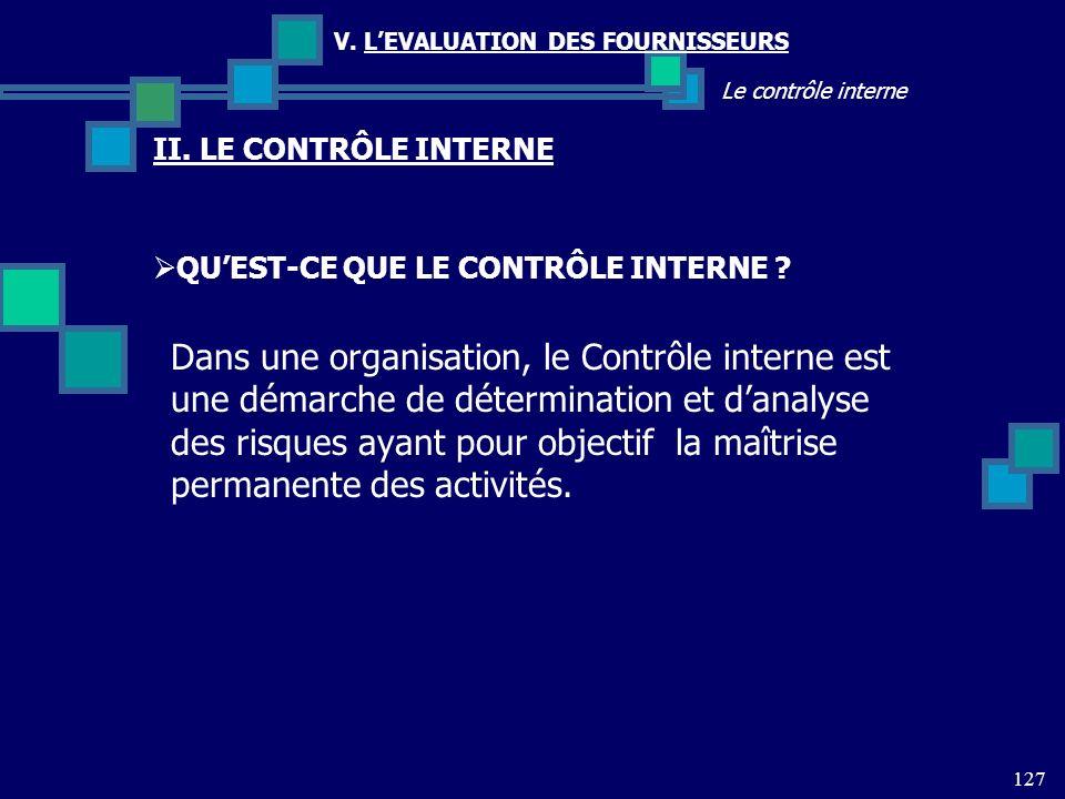127 Le contrôle interne V. LEVALUATION DES FOURNISSEURS II. LE CONTRÔLE INTERNE QUEST-CE QUE LE CONTRÔLE INTERNE ? Dans une organisation, le Contrôle