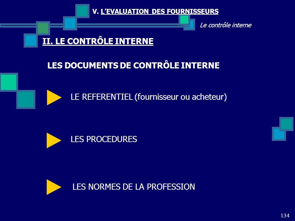 134 Le contrôle interne V. LEVALUATION DES FOURNISSEURS II. LE CONTRÔLE INTERNE LES DOCUMENTS DE CONTRÔLE INTERNE LE REFERENTIEL (fournisseur ou achet
