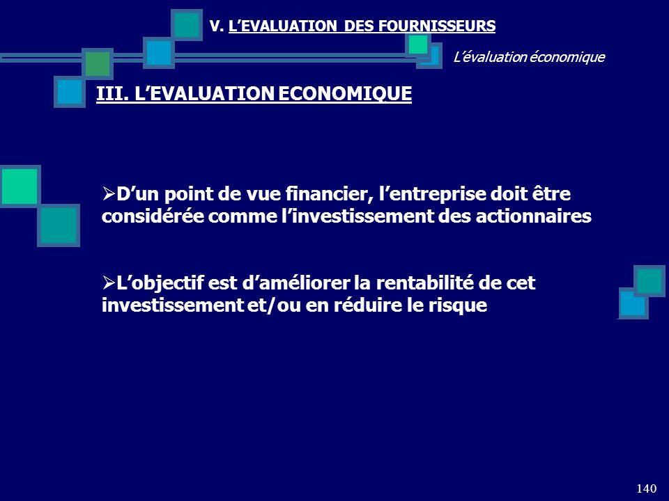 140 Lévaluation économique V. LEVALUATION DES FOURNISSEURS III. LEVALUATION ECONOMIQUE Dun point de vue financier, lentreprise doit être considérée co