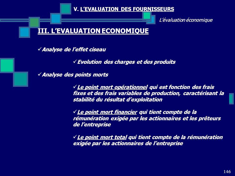 146 Lévaluation économique V. LEVALUATION DES FOURNISSEURS III. LEVALUATION ECONOMIQUE Analyse de leffet ciseau Evolution des charges et des produits