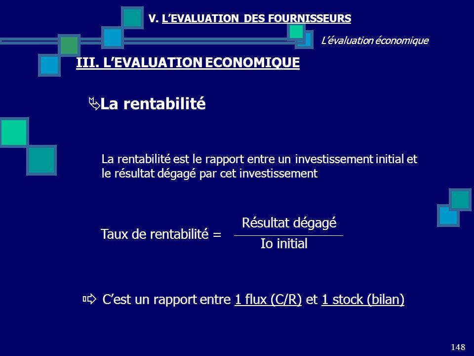 148 Lévaluation économique V. LEVALUATION DES FOURNISSEURS III. LEVALUATION ECONOMIQUE La rentabilité La rentabilité est le rapport entre un investiss