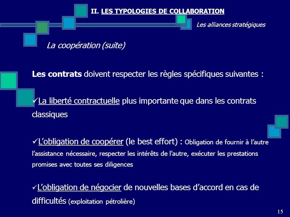 II. LES TYPOLOGIES DE COLLABORATION Les alliances stratégiques La coopération (suite) 15 Les contrats doivent respecter les règles spécifiques suivant