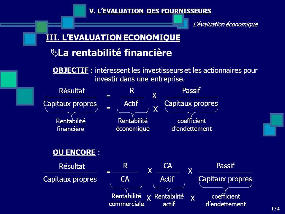 154 Lévaluation économique V. LEVALUATION DES FOURNISSEURS III. LEVALUATION ECONOMIQUE La rentabilité financière OBJECTIF : intéressent les investisse