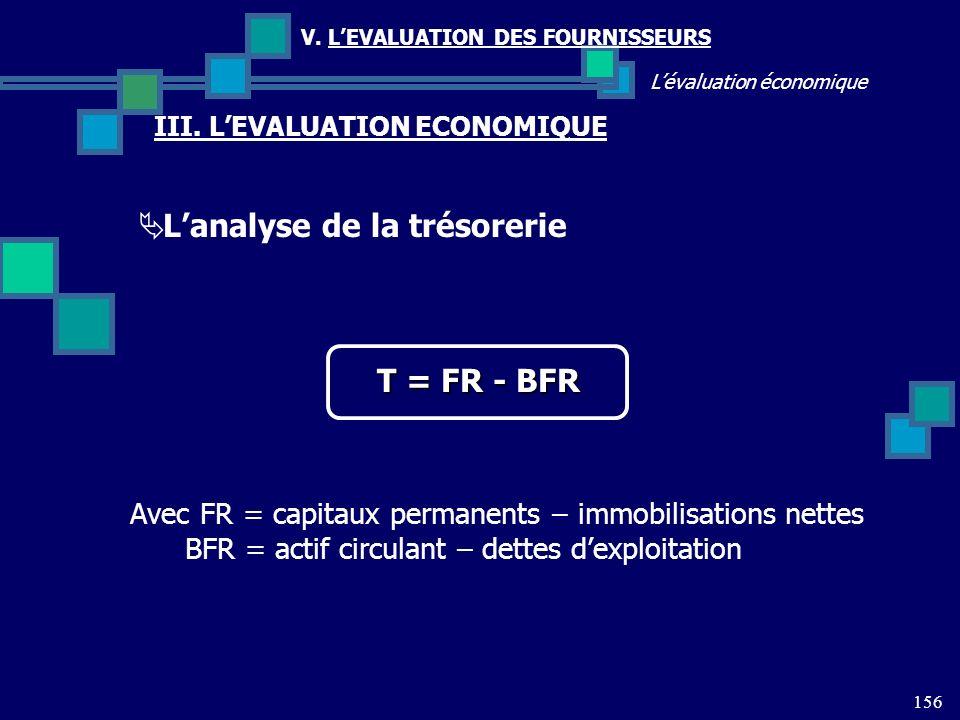 156 Lévaluation économique V. LEVALUATION DES FOURNISSEURS III. LEVALUATION ECONOMIQUE Lanalyse de la trésorerie T = FR - BFR Avec FR = capitaux perma