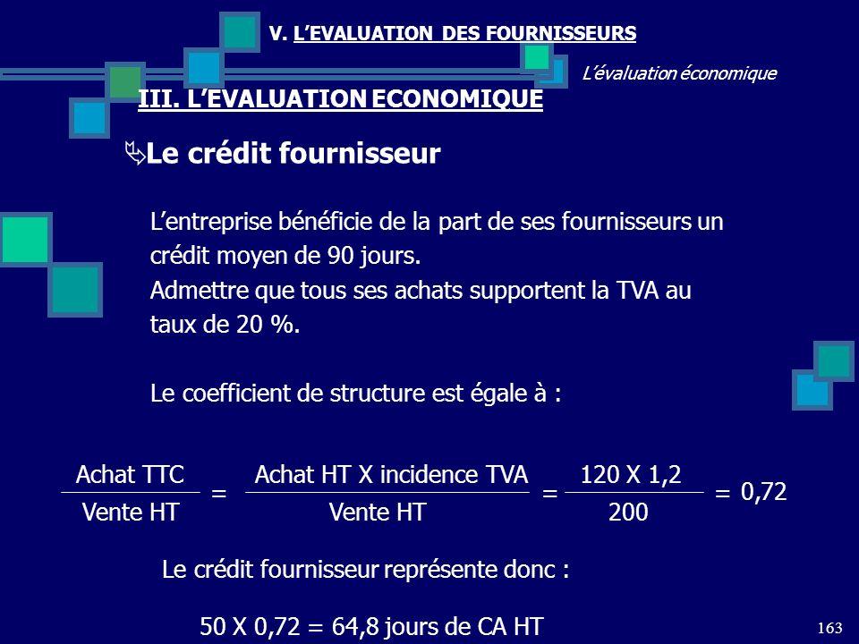 163 Lévaluation économique V. LEVALUATION DES FOURNISSEURS III. LEVALUATION ECONOMIQUE Le crédit fournisseur Lentreprise bénéficie de la part de ses f