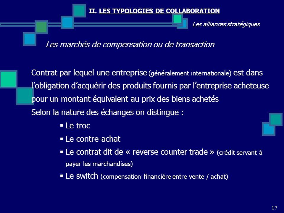 II. LES TYPOLOGIES DE COLLABORATION Les alliances stratégiques Les marchés de compensation ou de transaction 17 Contrat par lequel une entreprise (gén