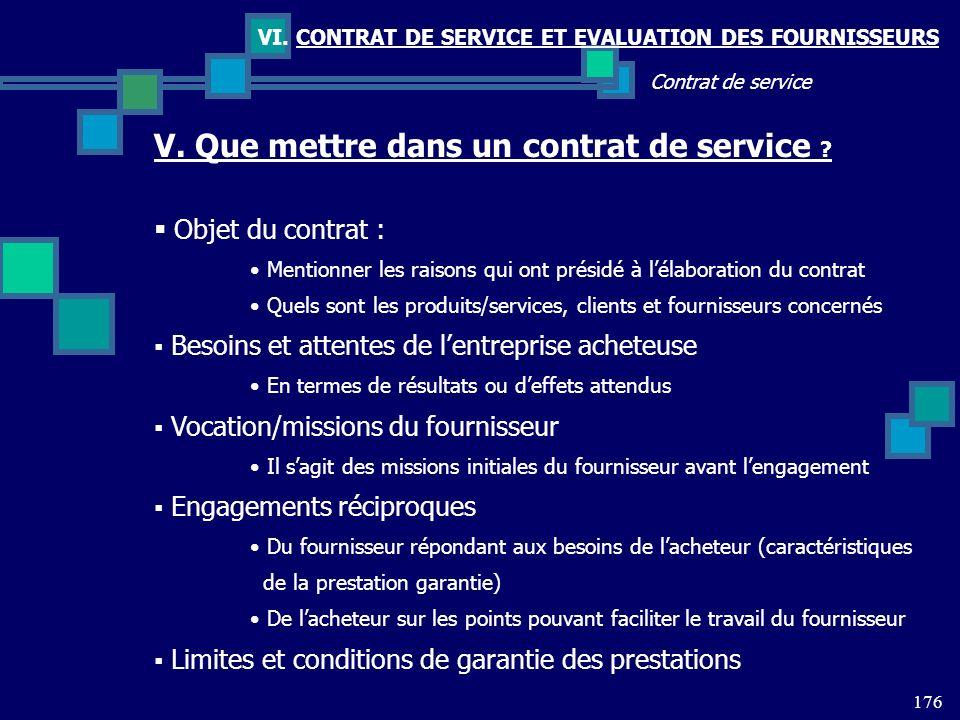 176 Contrat de service VI. CONTRAT DE SERVICE ET EVALUATION DES FOURNISSEURS V. Que mettre dans un contrat de service ? Objet du contrat : Mentionner