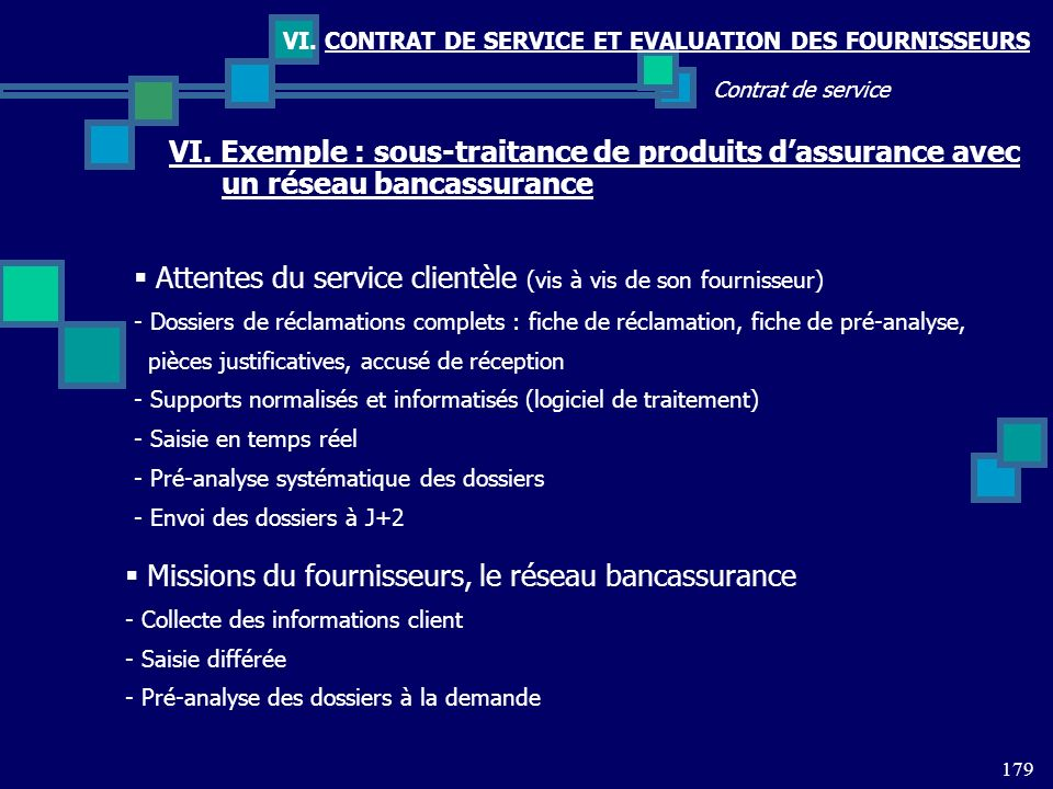 179 Contrat de service VI. CONTRAT DE SERVICE ET EVALUATION DES FOURNISSEURS VI. Exemple : sous-traitance de produits dassurance avec un réseau bancas
