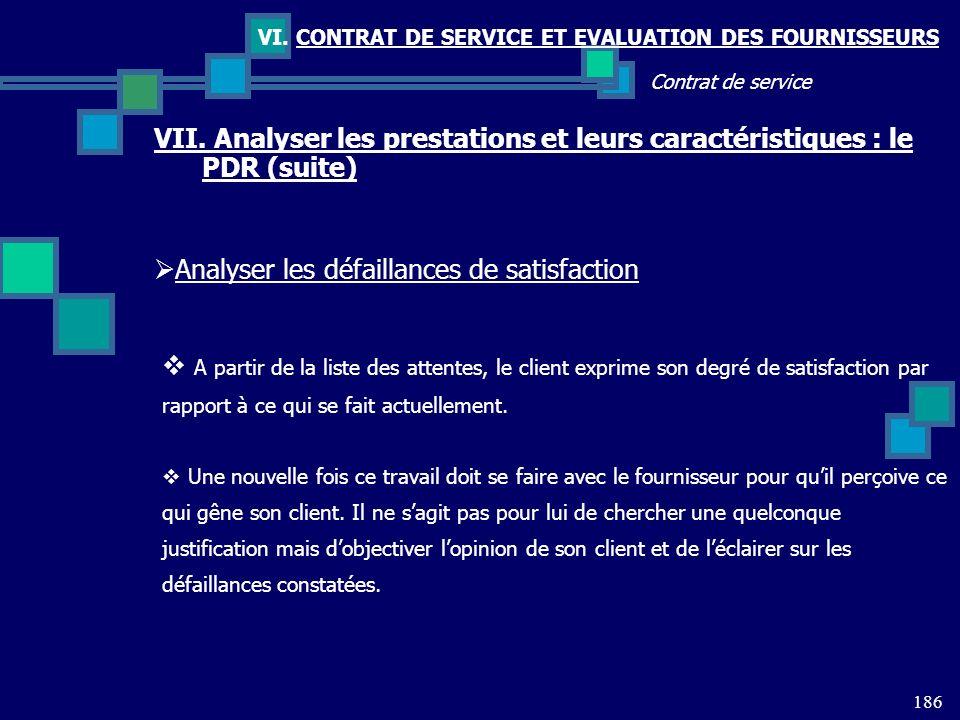 186 Contrat de service VI. CONTRAT DE SERVICE ET EVALUATION DES FOURNISSEURS VII. Analyser les prestations et leurs caractéristiques : le PDR (suite)