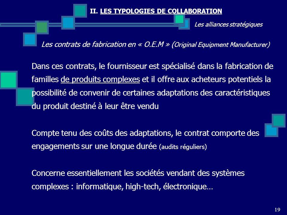 II. LES TYPOLOGIES DE COLLABORATION Les alliances stratégiques Les contrats de fabrication en « O.E.M » ( Original Equipment Manufacturer) 19 Dans ces