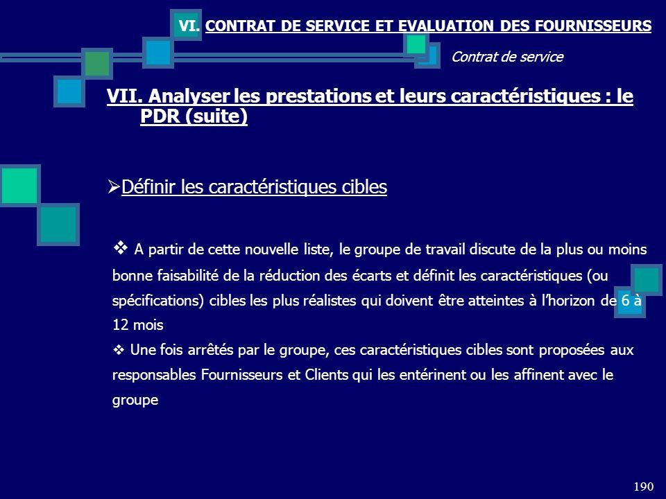 190 Contrat de service VI. CONTRAT DE SERVICE ET EVALUATION DES FOURNISSEURS VII. Analyser les prestations et leurs caractéristiques : le PDR (suite)