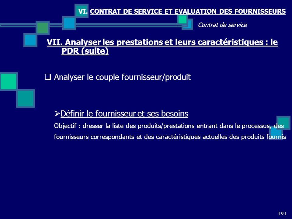 191 Contrat de service VI. CONTRAT DE SERVICE ET EVALUATION DES FOURNISSEURS VII. Analyser les prestations et leurs caractéristiques : le PDR (suite)