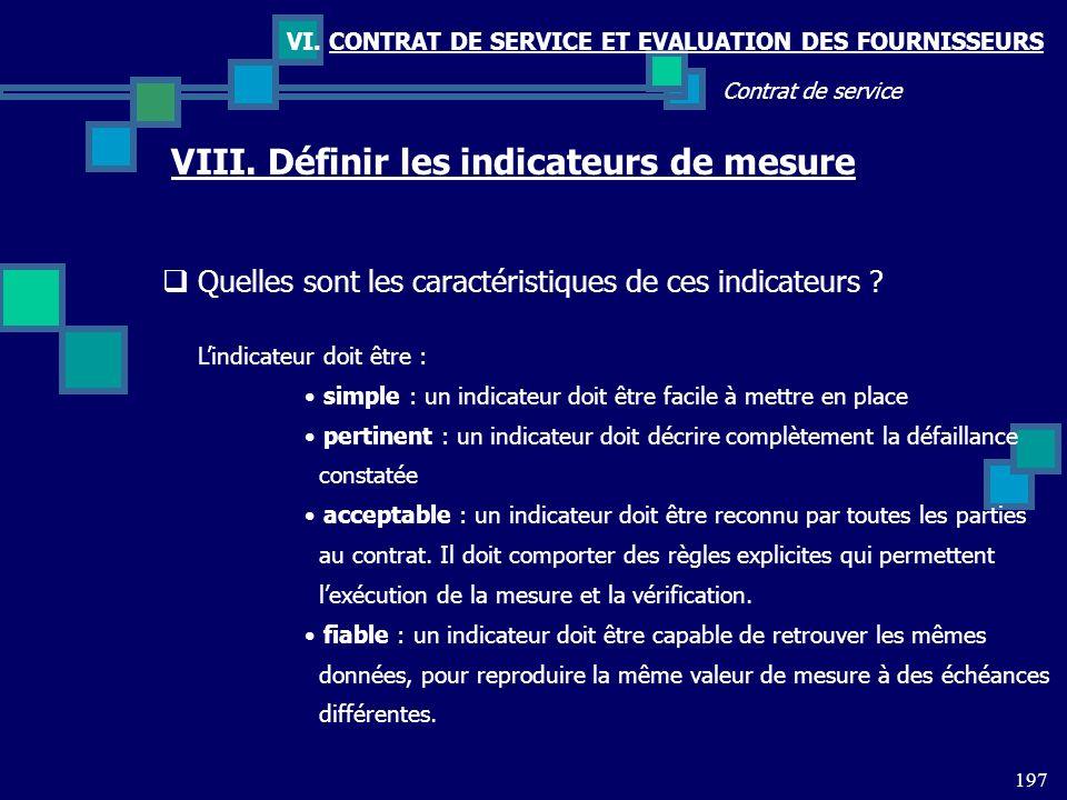 197 Contrat de service VI. CONTRAT DE SERVICE ET EVALUATION DES FOURNISSEURS VIII. Définir les indicateurs de mesure Quelles sont les caractéristiques