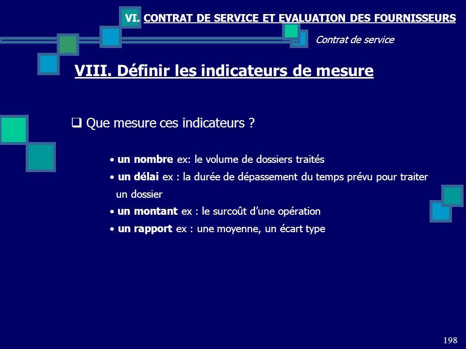 198 Contrat de service VI. CONTRAT DE SERVICE ET EVALUATION DES FOURNISSEURS VIII. Définir les indicateurs de mesure Que mesure ces indicateurs ? un n