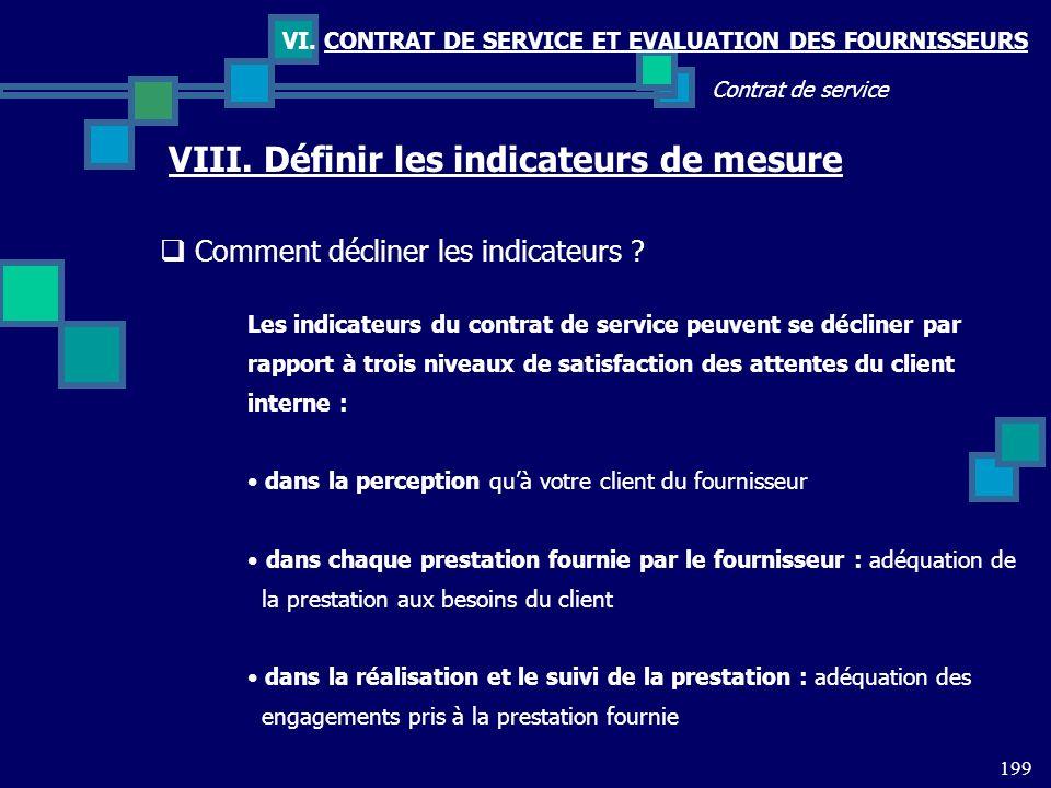 199 Contrat de service VI. CONTRAT DE SERVICE ET EVALUATION DES FOURNISSEURS VIII. Définir les indicateurs de mesure Comment décliner les indicateurs