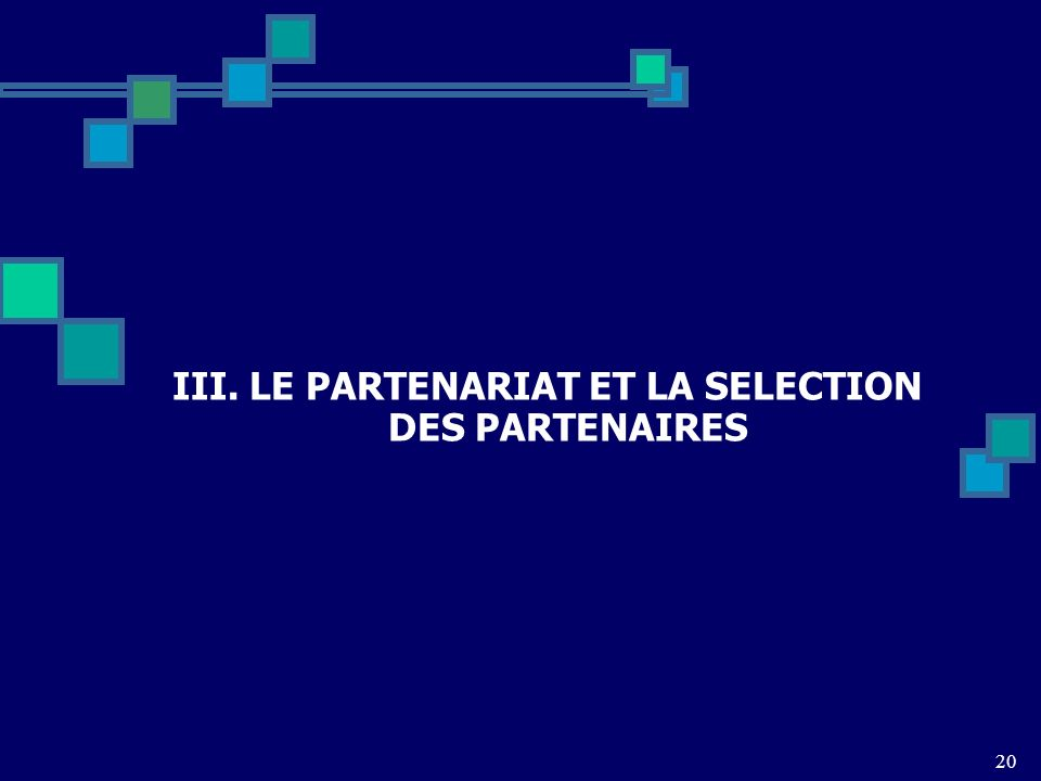 III. LE PARTENARIAT ET LA SELECTION DES PARTENAIRES 20