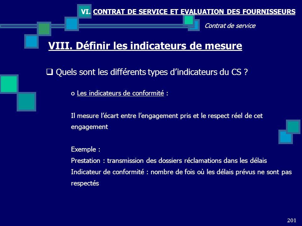 201 Contrat de service VI. CONTRAT DE SERVICE ET EVALUATION DES FOURNISSEURS VIII. Définir les indicateurs de mesure Quels sont les différents types d