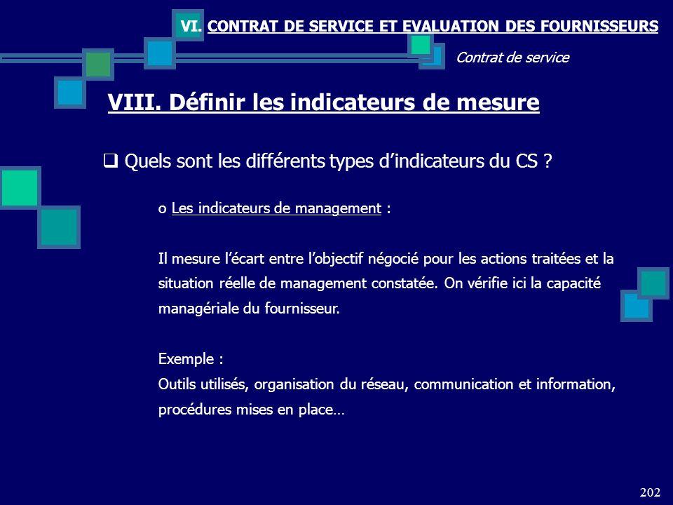 202 Contrat de service VI. CONTRAT DE SERVICE ET EVALUATION DES FOURNISSEURS VIII. Définir les indicateurs de mesure Quels sont les différents types d