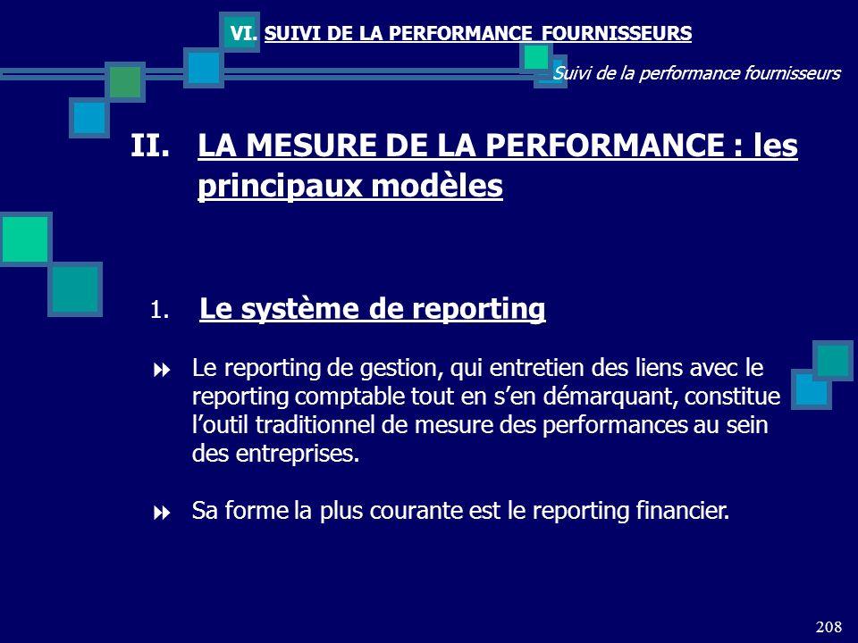 208 Suivi de la performance fournisseurs VI. SUIVI DE LA PERFORMANCE FOURNISSEURS II.LA MESURE DE LA PERFORMANCE : les principaux modèles 1. Le systèm