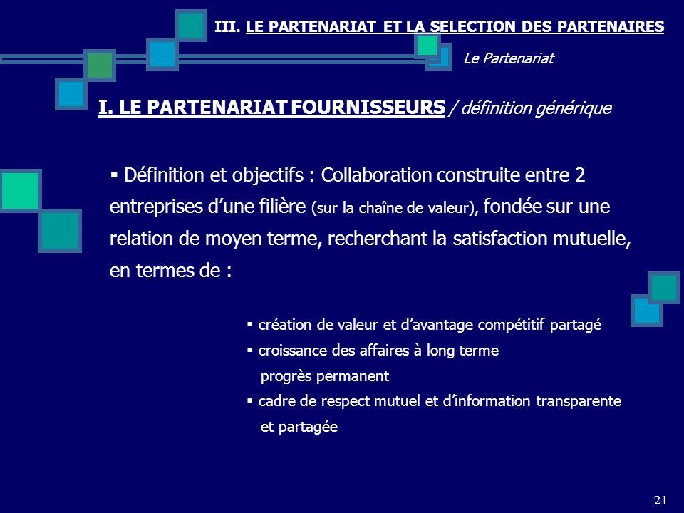 III. LE PARTENARIAT ET LA SELECTION DES PARTENAIRES I. LE PARTENARIAT FOURNISSEURS / définition générique 21 Le Partenariat Définition et objectifs :