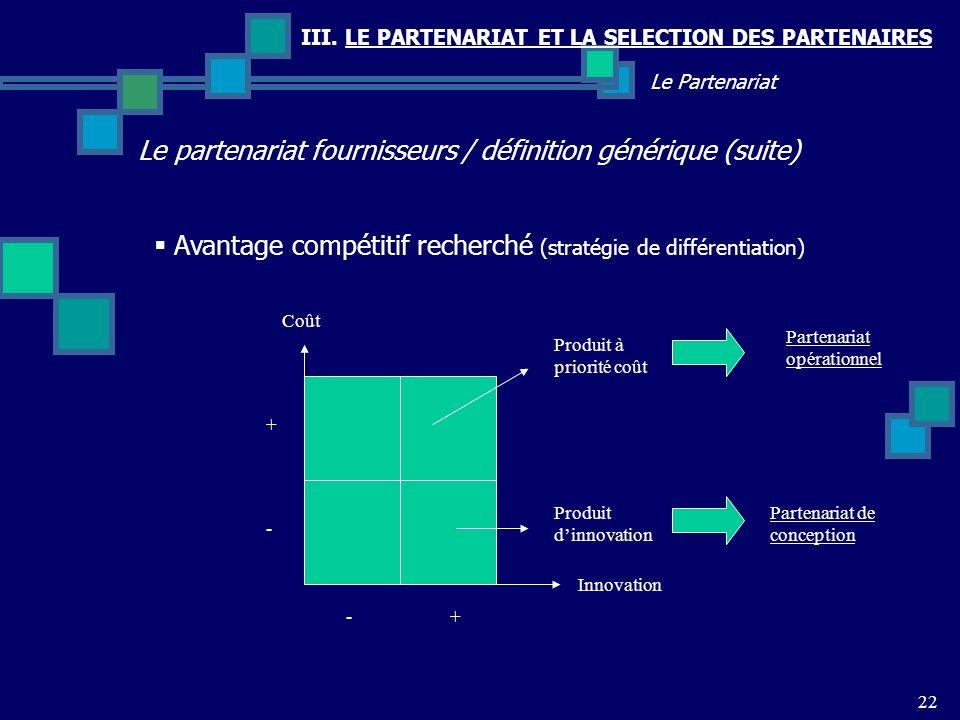 III. LE PARTENARIAT ET LA SELECTION DES PARTENAIRES Le partenariat fournisseurs / définition générique (suite) 22 Le Partenariat Avantage compétitif r